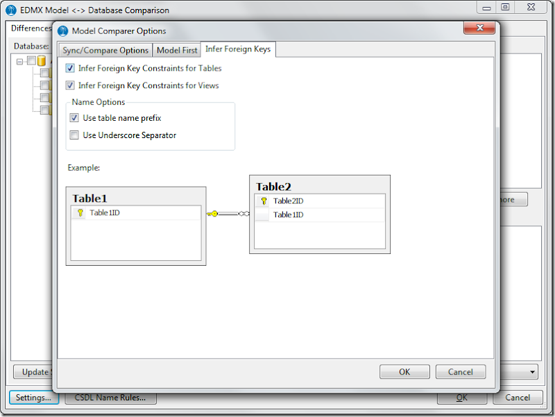 Model Comparer settings for inferring keys