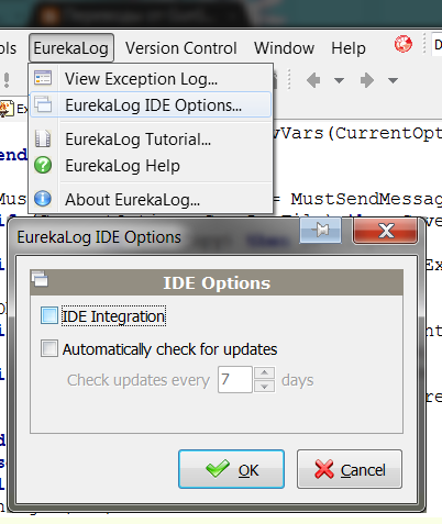 EurekaLog IDE Options