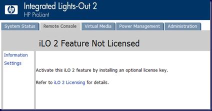 MPECS Inc  Blog: HP iLO 2 Remote KVM Console Licensing Gotcha