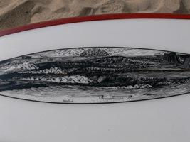 "Tim Stafford Custom Surfboards - 6'8"" Blunt Diamond bonzer EVO3 - reverse lap lava tint with custom pen artwork"