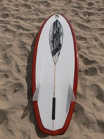 "Tim Stafford Custom Surfboards - 6'8"" Blunt Diamond bonzer EVO3 - reverse lap lava tint with pen artwork"