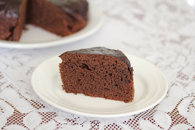 photo of a slice of chocolate cake on a plate