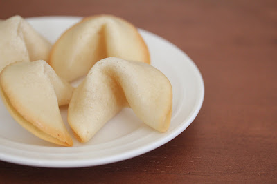 close-up photo of a plate of Fortune Cookies