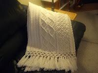 hand knit fisherman aran afghan by sharondipity designs