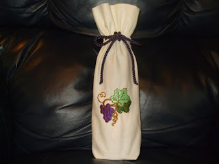 Embroidered wine bottle bag handmade by sharondipity designs