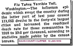 Flu Toll 10 jan 1919 Davis County Clipper