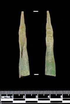 Copper bolts (points for crossbow projectiles) found at  Piedras Marcadas