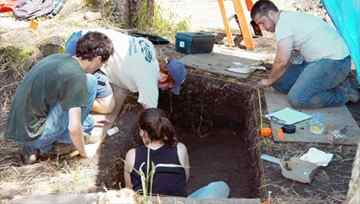 Western Michigan University students and staff work at the Fort St. Joseph archaeological dig at the annual archaeological field school this summer. This summer they discovered a foundation wall and two wooden posts that helped them determine a partial outline of one of the buildings of at Fort St. Joseph.