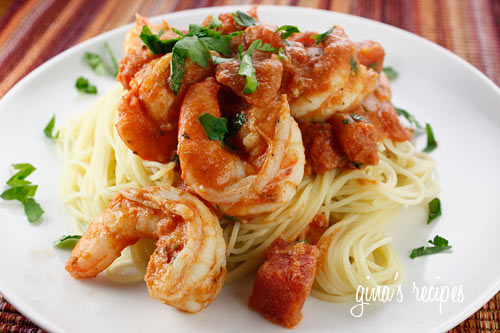 Angel Hair with Shrimp and Tomato Sauce | Skinnytaste