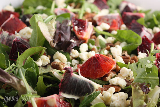 Blood Orange Salad With Gorgonzola, Pecans And Baby Greens ...
