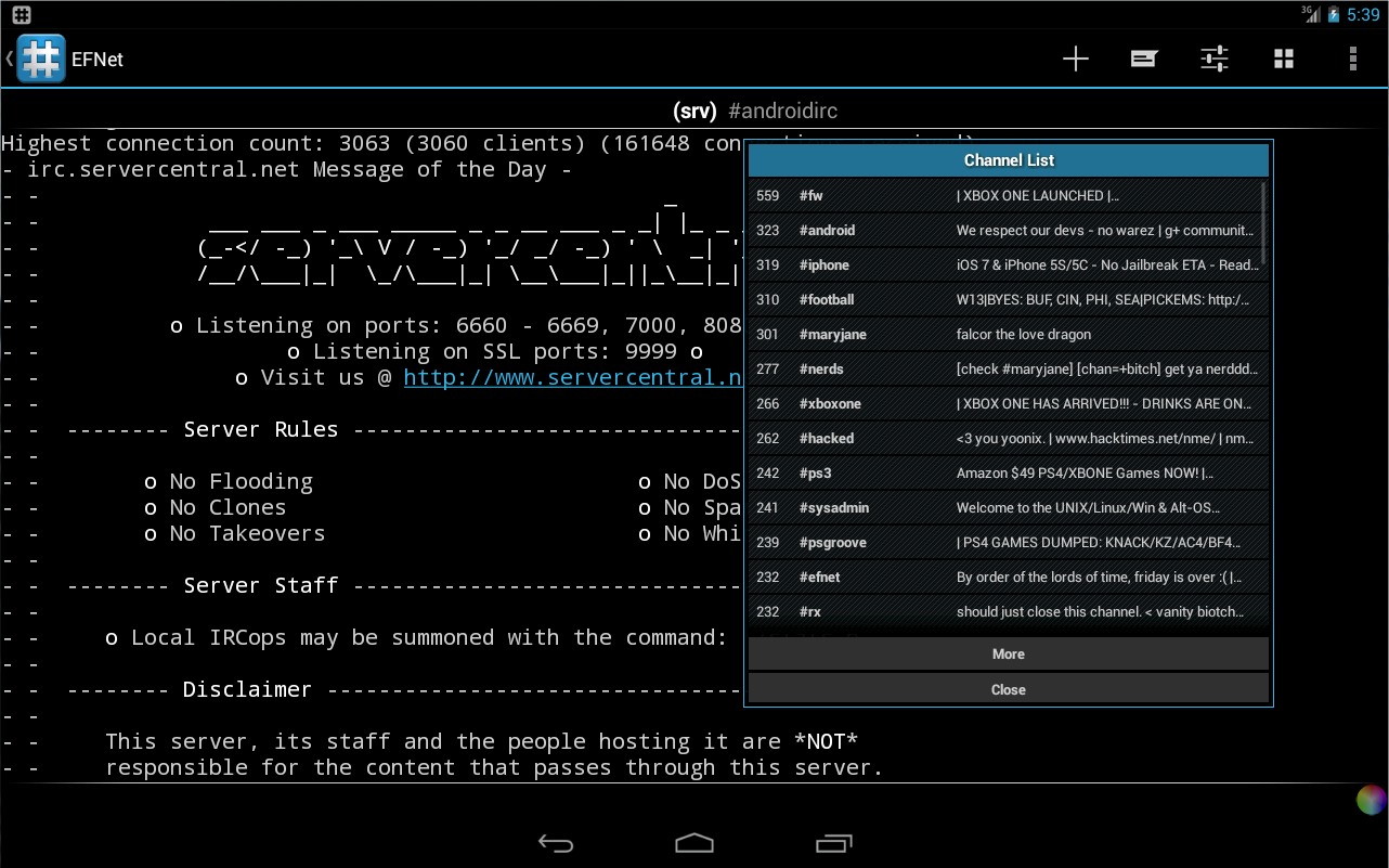 Android IRC - Internet Chat - screenshot