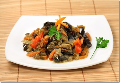 Appetizing dietetic salad of  aubergine