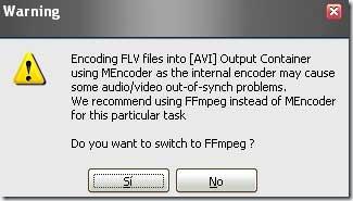 Aviso al codificar FLV con Super