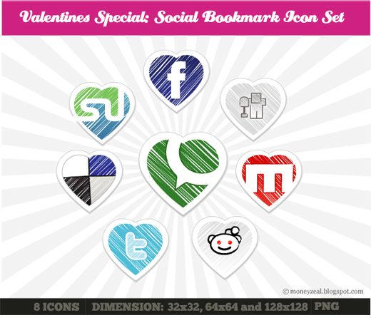 Incredible Heart Social Media Icon Set For Valentine's Day