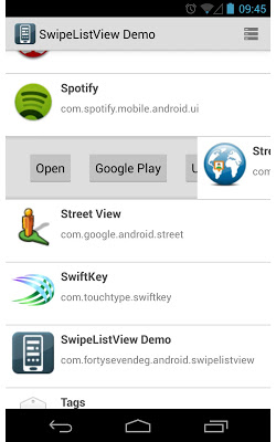 SwipeListView Demo - screenshot