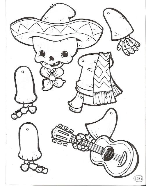 Recortar Marionetas Muñecos Dia De Muertos