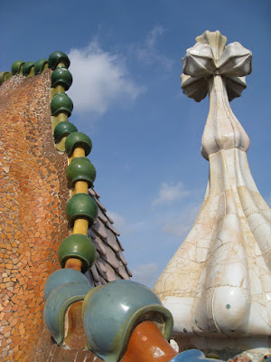 Rooftop of Gaudi's Casa Batllo in Barcelona, Spain