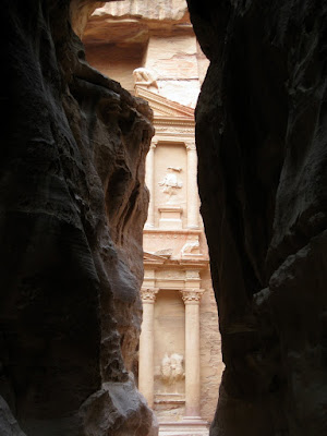 The Treasury in Petra as seen through the Siq