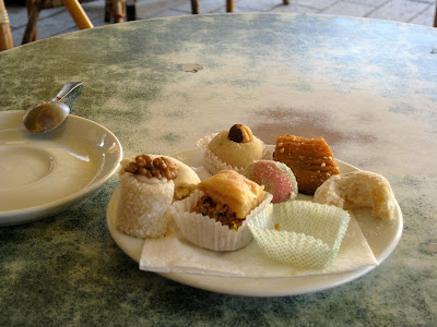 Sweets at a cafe in Tunis