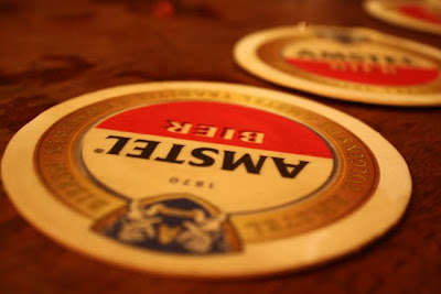 Amstel beer mat in a bar in Amsterdam in The Netherlands