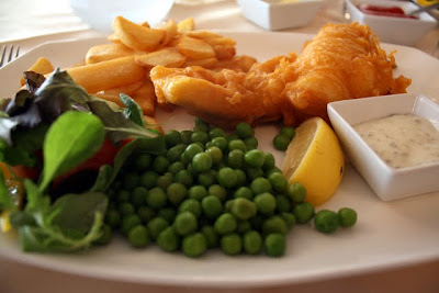 Fish and Chips for dinner at Sandbanks restaurant in Folkestone Kent in England