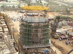 Core of India's Fast Breeder Nuclear Reactor being transported & lowered into place