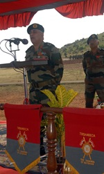 Indian army Maj. Gen. Anil Malik, general officer commanding, 31st Armored Division and keynote speaker at the opening ceremony for Exercise Yudh Abyas 09, addresses participants in the bilateral annual exercise. YA09 opened with a ceremony at the Babina Indian army base, Oct. 12. Participants this year are Soldiers from the Indian Army's 94th Armored Brigade command, 7th Mechanized Brigade and U.S. Army's  2nd Squadron, 14th Cavalry Regiment, 2nd Stryker Brigade Combat Team, based in Schofield Barracks, Hawaii.