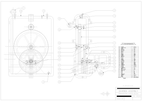 Third Year Mechanical Engineering AutoCAD drawing - Gearbox Assembly