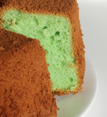 close-up photo of a chiffon cake with a piece removed