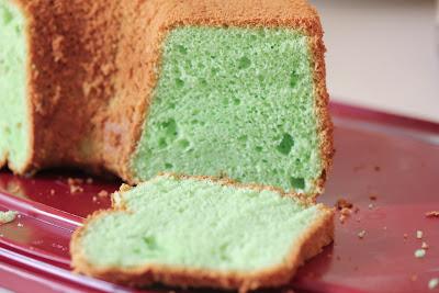 photo of a pandan chiffon cake