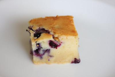 close-up photo of a slice of Blueberry Mochi Cake