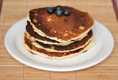 photo of a stack of blueberry pancakes