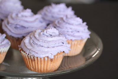close-up photo of an ube cupcake