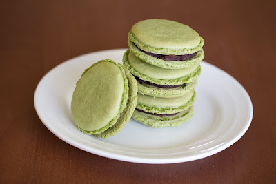 photo of a stack of Matcha macarons on a plate
