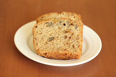 photo of a slice of banana nut bread on a plate