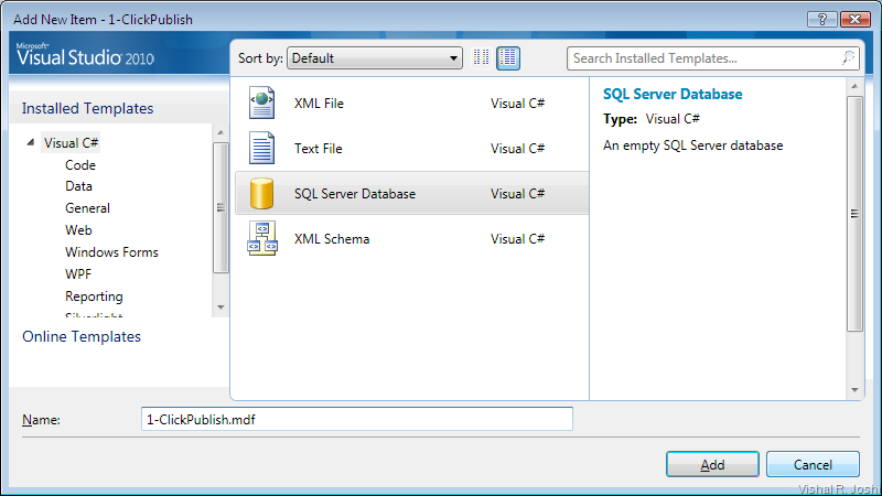 SQL Server Database Visual Studio