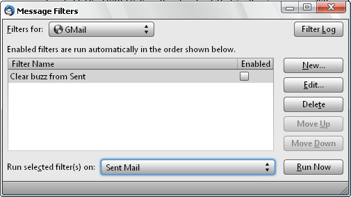 Thunderbird Message filters for Gmail
