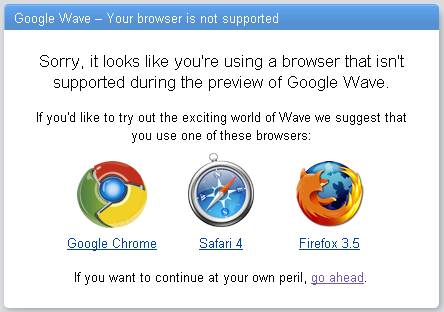 Google Wave preview browser not supported