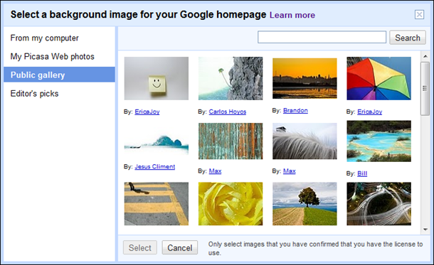 Google search select a background image