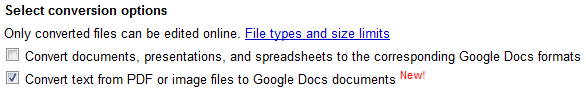 Google Docs convert image and PDF files
