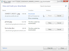 IE9 download manager with failed Gmail downloads