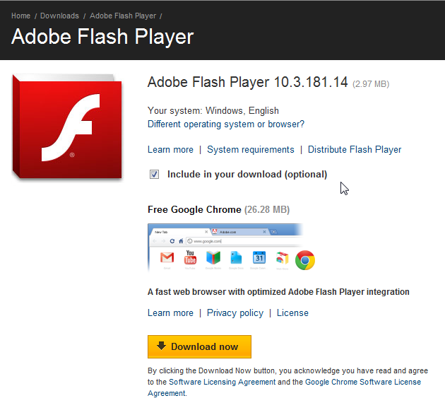 Adobe Flash include Chrome browser in download