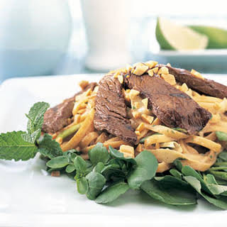 Soy-Ginger Beef and Noodle Salad with Peanut Dressing.