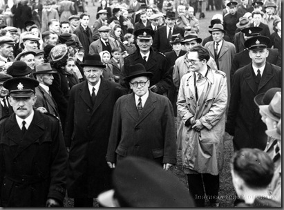 Miners Gala. Herbrert Morrison MP & Michael Foot MP with John Wright