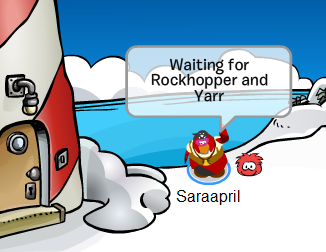 Saraapril as Pirate Penguin and Red Puffle