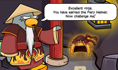 Sensei Fiery Helmet Card Jitsu Club Penguin
