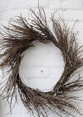 Twig wreath close up