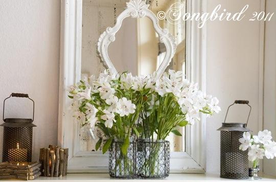 Spring White Mantel Vignette 7