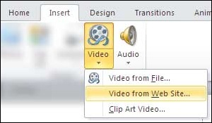 Insert Video from Web Site