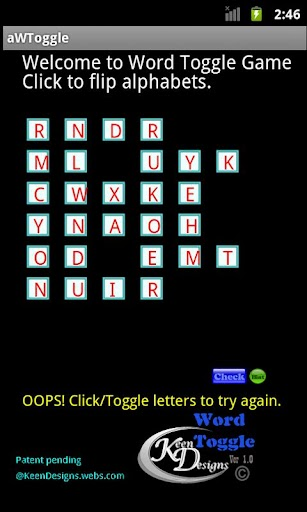 aWToggle Word Game screenshot for Android